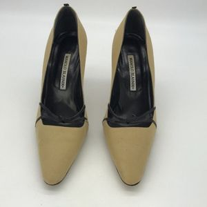 Manolo Blahnik Tan & Black Fabric Pumps Size 8.5